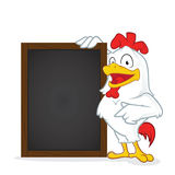 Chicken holding wooden menu board Royalty Free Stock Image