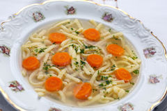 Chicken homemade noodle soup Stock Images
