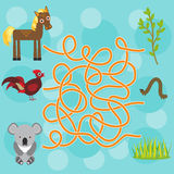 Chicken, horse, koala labyrinth game for Preschool Children. Vector Stock Photos