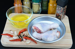 Chicken with hot chilli pepper and spicy ingredient Royalty Free Stock Photography