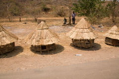 Chicken Huts Shop. A street-side shop selling traditional chicken huts for poultry in Zambia, Africa Royalty Free Stock Images