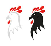 Chicken icon on black and white Stock Image