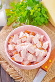 Chicken. Ingredients for salad, chicken and cheese Stock Photography