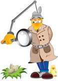 Chicken inspector. Inspecting chicken disappeared from the scene vector illustration