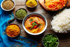 Chicken Jalfrazy indian food recipe and spices. Chicken Jalfrazy indian food recipe with spices and rice on wood Stock Photo