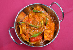 Chicken Jalfrezi. In a stainless steel serving dish Stock Photo