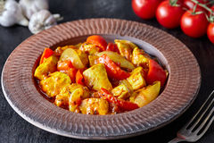 Chicken jalfrezi Indian culture fried spicy curry chilli meat and vegetables lunch Royalty Free Stock Image