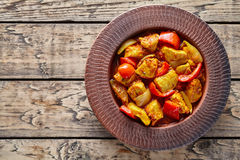 Chicken jalfrezi Indian restaurant menu fried spicy curry chilli meat and vegetables Royalty Free Stock Image