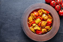 Chicken jalfrezi Indian traditional fried spicy curry chilli meat and vegetables healthy dinner Stock Photography
