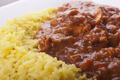 Chicken jalfrezi with pilau rice Stock Photos