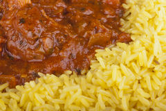 Chicken jalfrezi with pilau rice Stock Photography