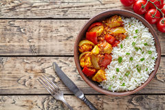 Chicken jalfrezi traditional homemade Indian spicy curry chilli meat with basmati rice Royalty Free Stock Photography