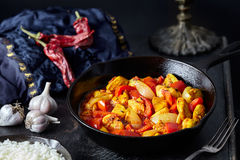 Chicken jalfrezi traditional Indian culture fried spicy meat and vegetables healthy dietetic food Royalty Free Stock Photography