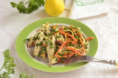 Chicken with julienne carrots and celery Stock Images