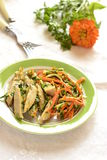 Chicken with julienne carrots and celery Royalty Free Stock Photos
