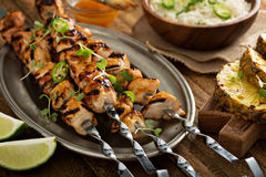 Chicken kabobs with sweet and sour sauce Royalty Free Stock Image