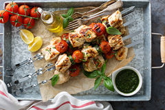 Chicken kabobs on a tray Stock Photo