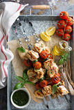 Chicken kabobs on a tray Stock Image
