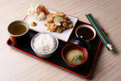 Chicken Karaage Set Menu. Japanese Fried Chicken, served with rice, miso soup, and japanese ocha green tea Stock Photography