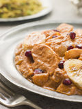 Chicken Kashmiri on a Pewter Plate with Pilau Rice Royalty Free Stock Photos