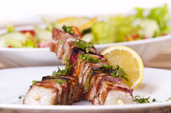 Chicken kebab. Grilled chicken kebab served with a fresh salad Royalty Free Stock Photos
