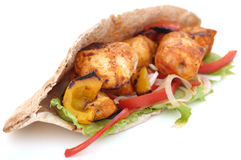 Chicken Kebab. With Fresh grilled Vegetables Royalty Free Stock Photo