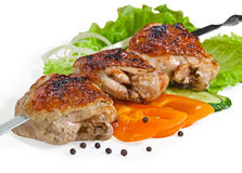 Chicken kebab. With lots of different vegetables Royalty Free Stock Photos