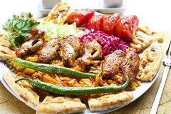Chicken Kebab. Chicken wings, chicken kebab with grilled vegetables royalty free stock image