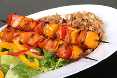 Chicken kebab. Barbecue chicken kebab with rice and pepper Stock Photos