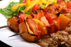 Chicken kebab. Barbecue chicken kebab with rice and pepper Royalty Free Stock Photography