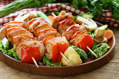 Chicken kebab with bell pepper Royalty Free Stock Photography