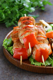Chicken kebab with bell pepper Stock Image