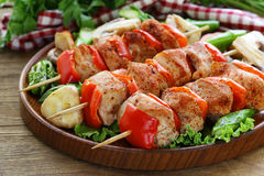 Chicken kebab with bell pepper Stock Photos