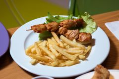 Chicken kebab with cartilage fry in the plate . Grilled chicken on bamboo skewers, close up view. Cartoon. Grilled chicken on bamboo skewers, close up view Royalty Free Stock Photos