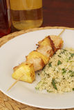 Chicken kebab and couscous Stock Photo