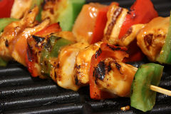 Chicken kebab on grill Royalty Free Stock Photos