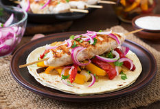 Chicken kebab with grilled vegetables. Stock Photos