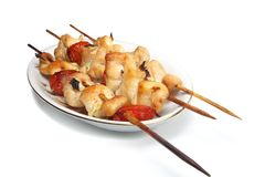 Chicken kebab isolated royalty free stock photography