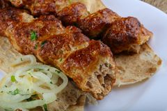 Chicken kebab. With onion, parsley and bread royalty free stock photos