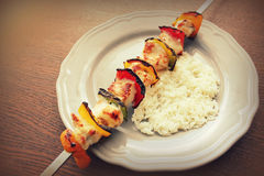 Chicken kebab  with pepper Royalty Free Stock Photo