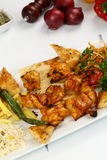 Chicken kebab in plate Royalty Free Stock Photos