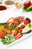 Chicken kebab in plate stock image