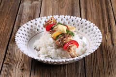 Chicken kebab and rice Royalty Free Stock Images