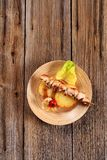 Chicken kebab and roasted potato Stock Photos