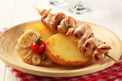 Chicken kebab and roasted potatoes Stock Image