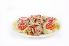 Chicken kebab with salad Stock Photo