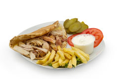 Chicken Kebab Shawarma Plate Royalty Free Stock Photos