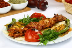 Chicken kebab on skewer. Fried Chicken kebab on skewer in white plate with sauce and onion royalty free stock image