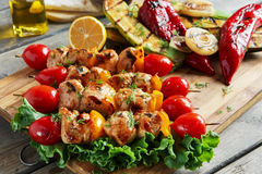 Chicken kebab skewer with grilled vegetables barbecue Royalty Free Stock Photography