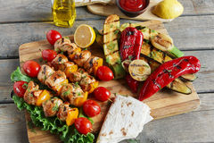 Chicken kebab skewer with grilled vegetables barbecue Stock Photography